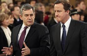 Gordon Brown y David Cameron.