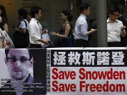 Cartel en chino defendiendo a Edward Snowden