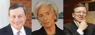 Draghi,Lagarde y Barrosso, los tres representantes de la troika