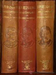 Tres volúmenes de los Episodios Nacionales de Benito Pérez Galdós