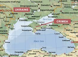 La península de Crimea, en el mar Negro, entre Ucranian y Rusia