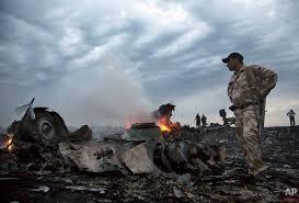 Restes de l'avió de passatge abatut per un míssil en la frontera entre Ucraïna i Rússia