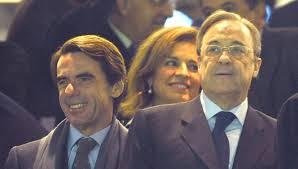 Florentino Pérez, José Maria Aznar y Ana Botella en el palco del Bernabeu