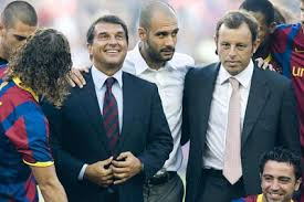 Jan Laporta, Pep Guardiola y Sandro Rosell