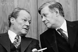 Los ex cancilleres de la RFA, Willy Brandt y Helmut Schmidt