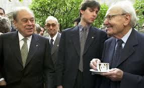 Jordi Pujol i Heribert Barrera a la xocolatada del Pati dels Tarongers el dia de Sant Jordi.