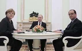 Merkel,Putin y Hollande en una reciente cumbre en Moscú