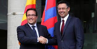 Ramon Adell, presidente de la Gestora durante el periodo electoral, y el presidente electo José Maria Bartomeu