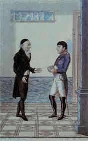 Dibujo sobre el encuentro de Napoleón con Goethe en Erfurt en 1808