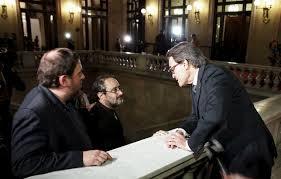 Artur Mas, Oriol Junqueras y Antonio Baños en el Parlament