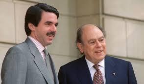 José Maria Aznar y Jordi Pujol tras el Pacto del Magèstic en 1996