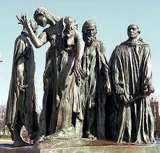 Monumental escultura de Auguste Rodin en recuerdo de los Los Burgueses de Calais que se ofrecieron a los ingleses para salvar la vida de los habitantes de la ciudad