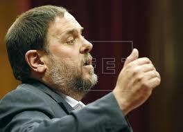 El vicepresidente Oriol Junqueras en la presentación de los presupuestos que no fueron admitidos a trámite