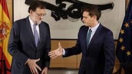 Mariano Rajoy y Albert Rivera en la reunión  para  tratar de la investidura
