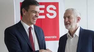 Jeremy corbyn y Pedro Sánchez, líderes del socialismo británico y español, con pocas posibilidades de ganar elecciones