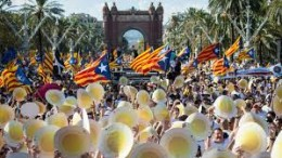 Manifestación masiva en la Diada del 14 de setiembre de 2016