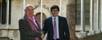 El president Puigdemont y Lluís Rabell, líder de Catalunya Sí Que És Pot.