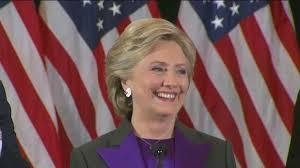 Hillary Clinton al pronunciar el discurso reconociendo la derrota ante Donald Trump
