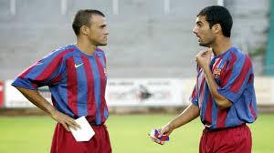 Luis Enrsique y Pep Guardiola cuando formaban parte de la plantilla de jugadores del Barça