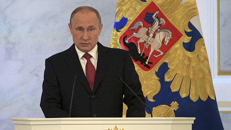 Vladimir Putin en el mensaje de fin de año desde el Kremlin